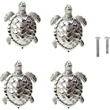 HozYi Set of 4 Ocean Turtles Metal Dresser Drawer Cabinet Door Knob Pull Handles Home Bath Beach Nautical Coastal Decor (Silv