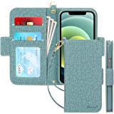 iphone12 mini ケース 手帳型 アイフォン 12ミニ ケース 手帳 5.4インチ Skycase 5G スマホケース [Qi ワイヤレス充電対応] ハンドメイド 型押し 高級PUレザー カード収納 スタンド機能 サイドマグネット式 ストラ