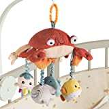 TUMAMA Crab Crib Mobile Hanging Toy with Tummy Time Mirror, Activity Plush Animal Stroller Baby Toys Gifts Sets for 0 3 6 9 1