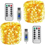LED String Lights Copper Wire Lights, Amazer Tec 33ft 100 LED String Lights Plug In 2 Pack Dimmable with Remote Control, Wate