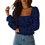 CNJFJ Women's Sexy Frill Smock Crop Top Retro Square Neck Long Sleeve Shirred Blouse Tops