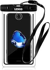 防水ケース スマホ用 LESGO 防水携帯ケース iPhone X/8/7/6/Plus 海水浴 潜水 お風呂 水泳 砂浜 水遊び 温泉 釣りなど用フォンケース 指紋認証 夜間発光 IPX8認定 高感度PVC 6インチまで全機種対応