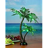 Lightshare 24Inch 25LED Twins Palm Tree Bonsai,Green Light,Battery Powered or Plug-in Adapter (not Included), Built-in Timer