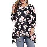 LARACE Womens Plus Size 3/4 Sleeve Loose Fit Flare Swing Tunic Tops Basic T Shirt
