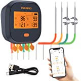 Inkbird WiFi Grill Thermometer IBBQ-4T, Rechargeable Wireless BBQ Thermometer with 4 Probes, Calibration, Timer, High and Low