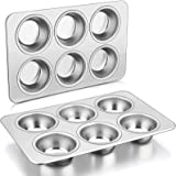 6-Cups Muffin Pan, P&P CHEF Cupcake Pans Stainless Steel Muffin Tins Pans, For Mini Brownie Tart Quiches, Healthy & Durable,