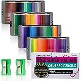 Feela 色鉛筆 油性 152色セット カラーペン メタリック色 大人の塗り絵 鉛筆削り付き スケッチ イラスト 落書…