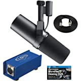Shure SM7B Vocal Microphone with Cloud Microphones Cloudlifter CL-1 Mic Activator and Extra 10' XLR Cable Bundle