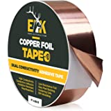ELK Copper Foil Tape with Conductive Adhesive - Slug and Snail Repellent, Stained Glass, Arts and Crafts, Guitar, EMI Shieldi