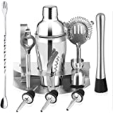 InMalla 12 Pieces Cocktail Shaker Set Kit Stainless Steel Bar Utensils Bartender Kit Bar Tool with Bar Accessories, Stand, St