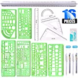 Glarks 16 Pieces Measuring Templates Building Formwork Stencils Geometric Drawing Rulers and Triangular Architect Scale Ruler