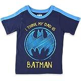 DC Comics Batman Toddler Boys Short Sleeve Tee (4T, Navy Dad Batman)