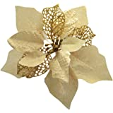 Crazy Night (Pack of 12 Glitter Poinsettia Christmas Tree Ornaments (Gold)