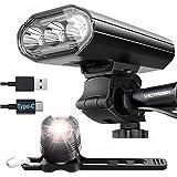 victagen Bike Lights, Super Bright 2000 Lumens 3 LED bike lights front and back, USB Rechargeable flashlight Type C, 5 Light