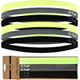 Athletic Sports Headbands - 6 Pack Thin Hair Bands for Men, Women, Boys & Girls - Elastic Head Bands with No Slip Silicone Gr
