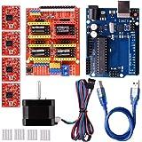 Quimat 3Dプリンター CNCキット R3ボード+CNCシールドV3+A4988ドライバ+ヒートシンク+Nema 17ステッピングモータ GRBL 0.9交換 実験用 電作キット QD06C
