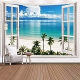 ジャション ハワイビーチ ココナッツヤシの木 壁掛けタペストリー 自然景観シーン トロピカルアイランド 壁飾り 家 リビングルーム ベッドルーム 部屋 おしゃれ飾り 150X130CM (窓とビーチ)
