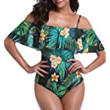 Promaska Women's Printed Off Shoulder One Piece Swimsuits Flounce Ruffled Swimwear Bathing Suits
