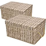 Livememory Decorative Storage Bins Foldable Storage Boxes with Lids and Handles for Office, Bedroom, Closet - Beige Rattan We