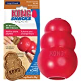 KONG - Classic Dog Toy & Snacks Peanut Butter Bundle - Durable Natural Rubber, Fun to Chew, Chase and Fetch - All Natural Bis