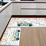 LooPoP Kitchen Rugs and Mats Sets of 2 Truck Daisy Flower Non-Slip Rubber Backing Area Rugs Washable Runner Carpets for Floor