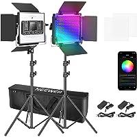 Neewer 660 RGB LEDビデオライト アプリ制御可 写真ビデオ照明セット スタンドとバッグ付き 2個調光可能…