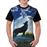 動物 狼 オオカミ 月 Tシャツメンズ 速乾 半袖 おしゃれ 男子 速乾シャツアウトドア 面白いアニマル 日常T-shirt 個性
