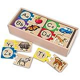 Melissa & Doug 2541 Self-Correcting Alphabet Wooden Puzzles with Storage Box (52 pcs)