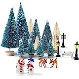 Kuuqa Mini Assorted Pine Trees Bottle Brush Trees with Snowmen, Reindeer, Mini Garden Wooden Bench, Street Lamps Miniature Or