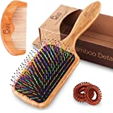 BLACK EGG Bamboo Rainbow Hair Brush Wet or Dry Detangling Paddle Hair Comb for All Hair Types Smooth & Healthy for Women Men