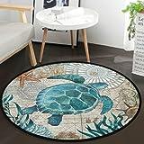 Vdsrup Nautical Sea Turtle Ocean Animal Round Doormat Starfish Retro Map Non Slip Absorbent Round Rug Floor Carpet Yoga Mat f