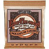 Ernie Ball P02146 Earthwood Medium Light Phosphor Bronze Acoustic String Set.012- .054, White Black Red Blue