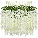Pauwer 24 Pack (86.6 FT) Artificial Wisteria Vine Ratta Fake Wisteria Hanging Garland Silk Long Hanging Bush Flowers String H