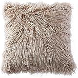 (46cm x 46cm, Light Coffee) - OJIA Deluxe Home Decorative Super Soft Plush Mongolian Faux Fur Throw Pillow Cover Cushion Case