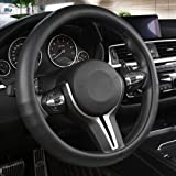 Black Panther Car Steering Wheel Cover with Grip Contours Anti-Slip Design, 15 inch Universal - Black