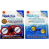 Hook-Eze 2 x Twin Packs 1 x New Larger Model Reef & Blue Water + 1 x Original River & Coast Safe Fishing Hook Cover & Knot Ty