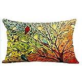 Oil Painting Hundreds of Birds Cotton Linen Throw Pillow Case Cushion Cover Home Sofa Decorative 19 X 12 Inch (Waist Pillow C