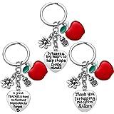 Teacher Appreciation Women - 3pcs Teacher Keychain Teacher Gifts, Thank You Gifts for Teacher, for Teacher Valentine's Day Gi