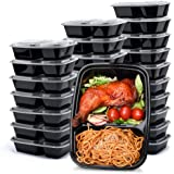 Glotoch 50pack 32ounce Food Storage Containers Set with Lid for Meal Prep and Portion Control in 2 Compartment Bento Box-Micr