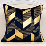 Alerfa 18 x 18 Inches Navy Blue Geometric Gold Leather Striped Cushion Cases Embroidery Modern Throw Pillow Covers Decorative