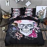 Skull Bedding Duvet Cover Queen 3D Print Bohemian Floral and Skull Bedding Set with 2 Pillowcases Microfiber Bedding Comforte