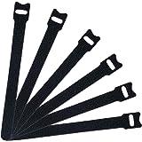 Attmu 50 PCS Reusable Fastening Cable Ties, Microfiber Cloth 6-Inch Hook and Loop Cord Ties, Black