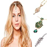 3 Pack Head Jewelry Chain Accessories Indian Bohemian Tassel Gold bollywood for Women Headpiece