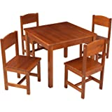 KidKraft Wooden Farmhouse Table & 4 Chairs Set, Children's Furniture for Arts and Activity – Pecan, Gift for Ages 3+