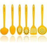 Yellow Silicone Cooking Utensils Set – Sturdy Steel Inner Core – Spatula, Mixing & Slotted Spoon, Ladle, Pasta Server, Draine