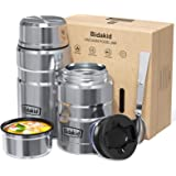 Bidakid Thermoses for Hot Food 2 Pack Stainless Steel Thermoses Containers with Lid Vacuum and Folding Spoon Insulated Lunch