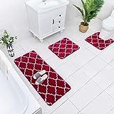 Carvapet 3 Pcs Bathroom Rugs Set Extra Soft Shaggy Microfiber Bath Mat Water Absorbent Plush Fuzzy Bath Runner U-Shaped Conto