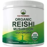Organic Reishi Mushroom Powder (USA Grown) by Peak Performance. USDA Organic Vegan Mushrooms Supplement for Immunity Support.