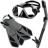 Zenoplige Mask Fins Snorkel Set Adults Men Women, Swim Goggles 180° Panoramic View Anti-Fog Anti-Leak Dry Top Snorkel and Div