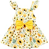 YOUNGER TREE Infant Baby Girl Summer Casual Bow Dress Sunflower Ruffle Sleeve Dress Vibrant Vestido Sleevelss Tunic Dress